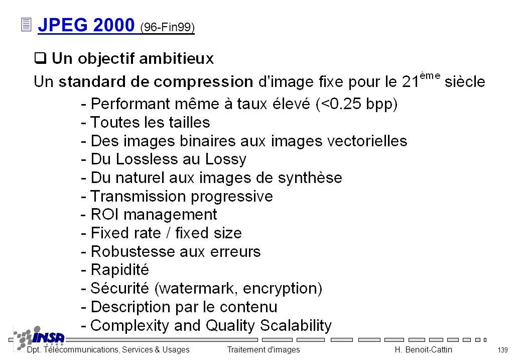 Dpt. Télécommunications, Services & Usages Traitement d'images H. Benoit-Cattin 139 3 JPEG 2000 (96-Fin99)