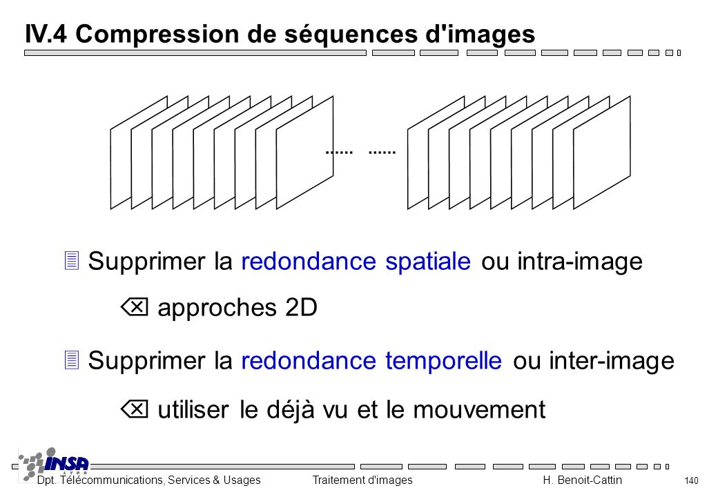 Dpt. Télécommunications, Services & Usages Traitement d'images H. Benoit-Cattin 140 IV.4 Compression de séquences d'images 3Supprimer la redondance sp