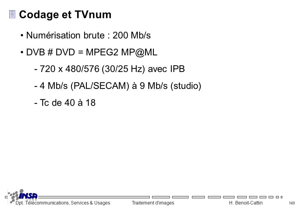 Dpt. Télécommunications, Services & Usages Traitement d'images H. Benoit-Cattin 149 3Codage et TVnum Numérisation brute : 200 Mb/s DVB # DVD = MPEG2 M