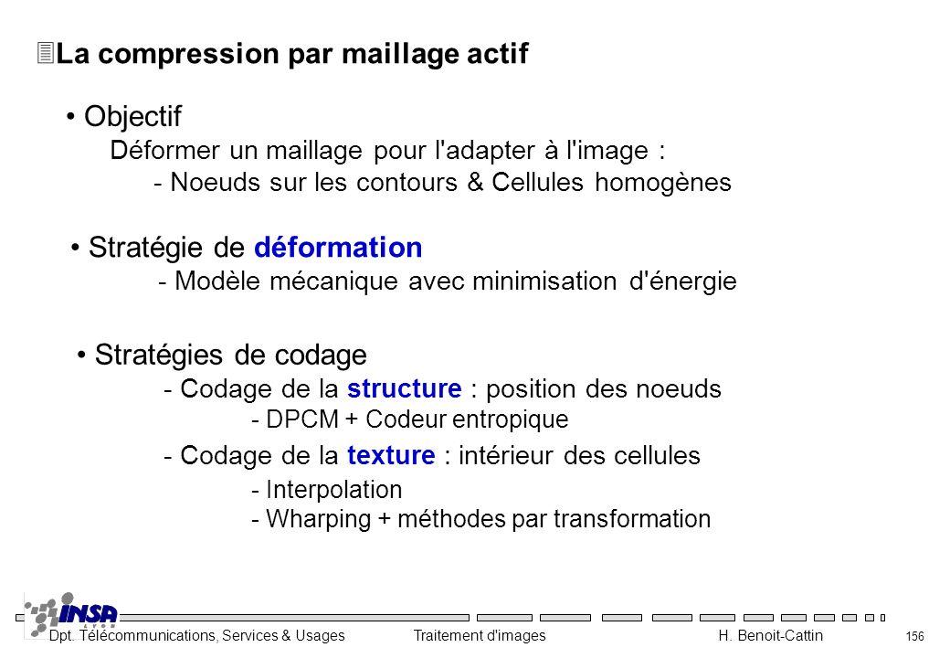 Dpt. Télécommunications, Services & Usages Traitement d'images H. Benoit-Cattin 156 3La compression par maillage actif Objectif Déformer un maillage p