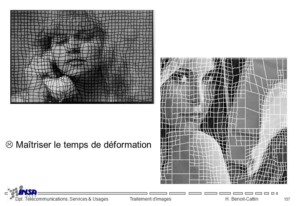 Dpt. Télécommunications, Services & Usages Traitement d'images H. Benoit-Cattin 157 Maîtriser le temps de déformation