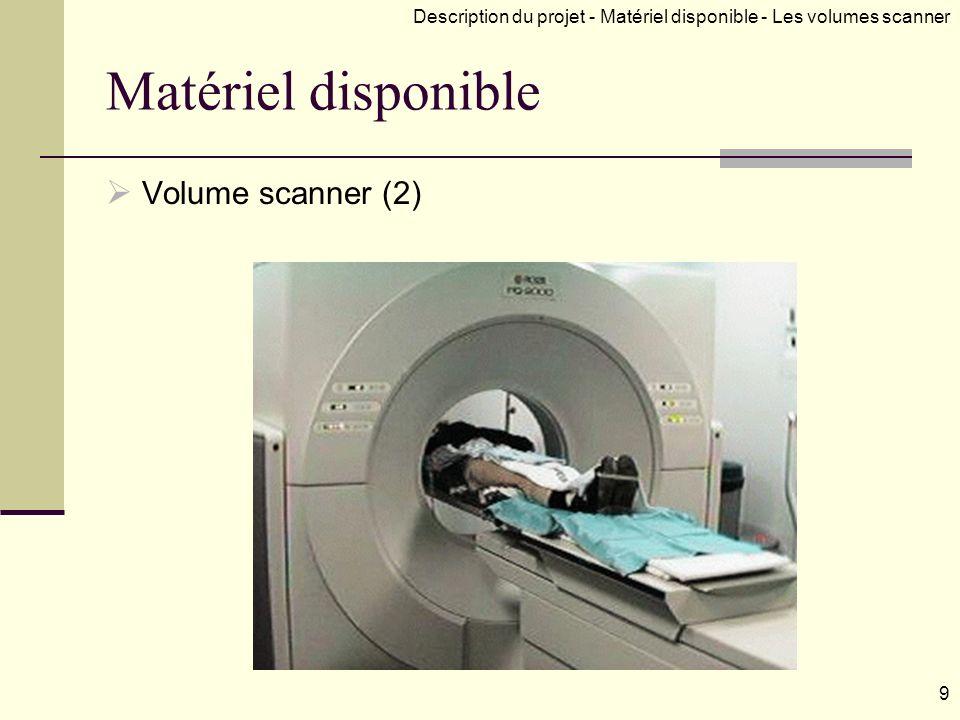 Matériel disponible Volume scanner (2) 9 Description du projet - Matériel disponible - Les volumes scanner