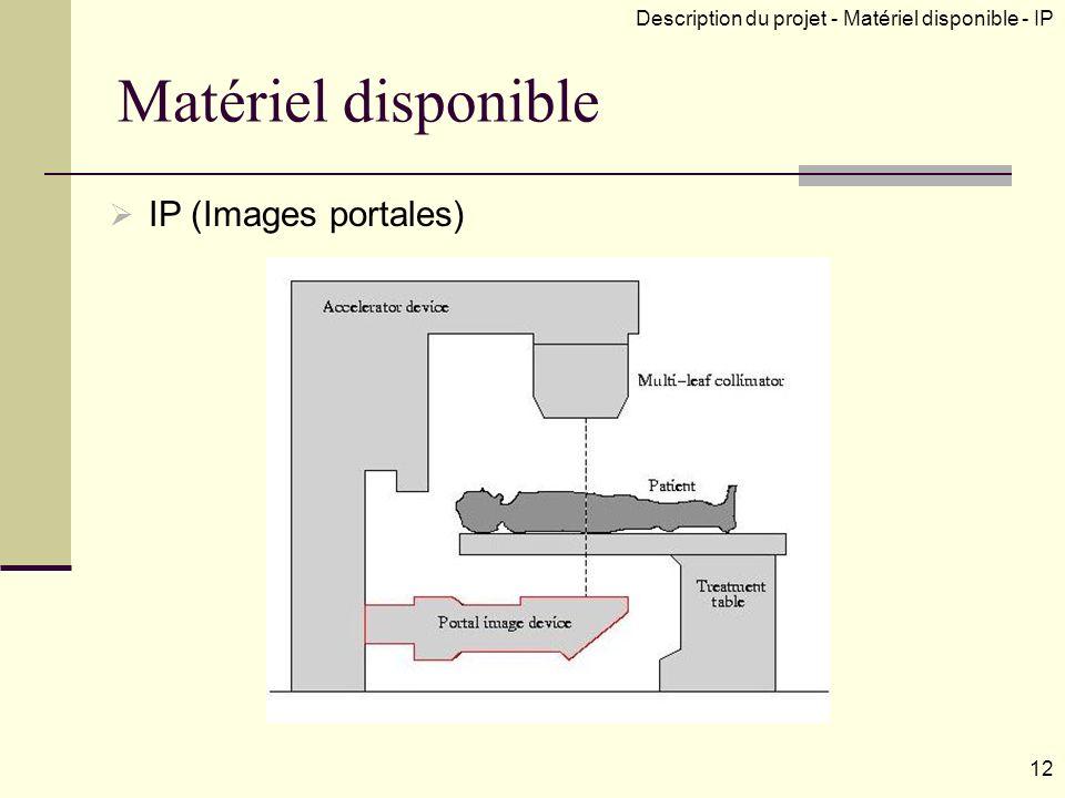 IP (Images portales) Description du projet - Matériel disponible - IP 12 Matériel disponible
