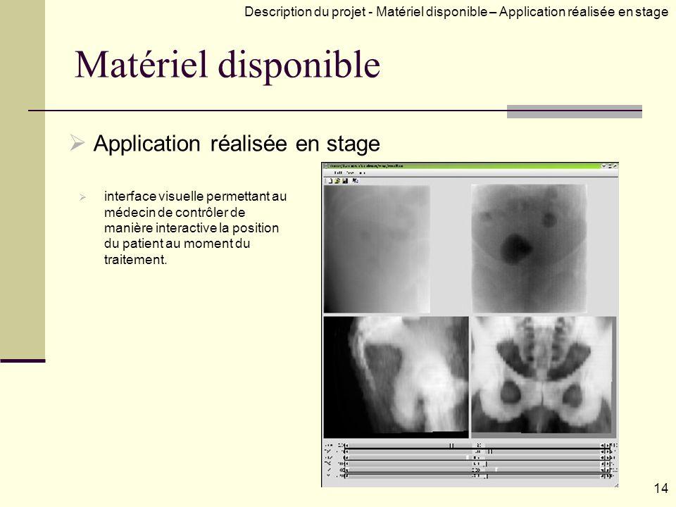 Matériel disponible Application réalisée en stage interface visuelle permettant au médecin de contrôler de manière interactive la position du patient