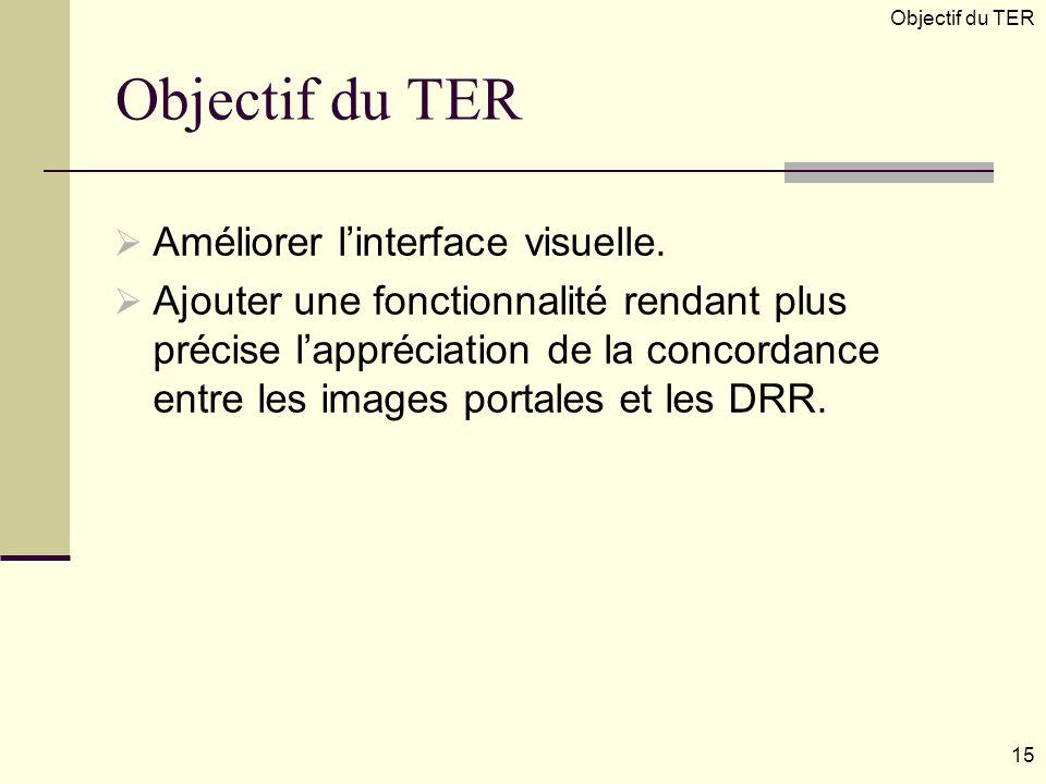Objectif du TER Améliorer linterface visuelle. Ajouter une fonctionnalité rendant plus précise lappréciation de la concordance entre les images portal