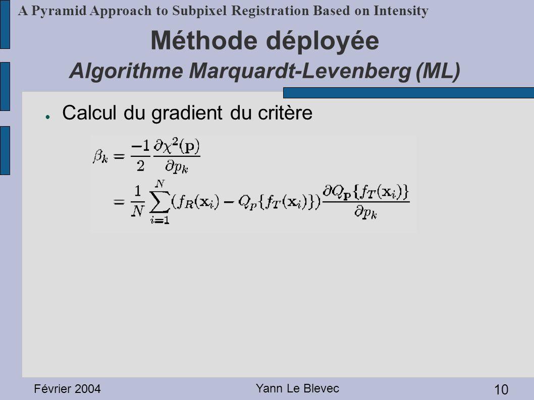 Février 2004 Yann Le Blevec 10 A Pyramid Approach to Subpixel Registration Based on Intensity Méthode déployée Algorithme Marquardt-Levenberg (ML) Cal