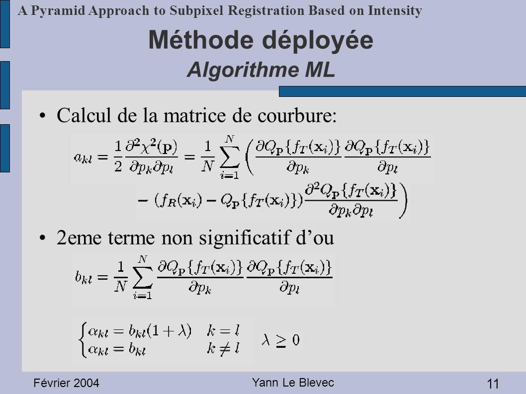 Février 2004 Yann Le Blevec 11 A Pyramid Approach to Subpixel Registration Based on Intensity Méthode déployée Algorithme ML Calcul de la matrice de c