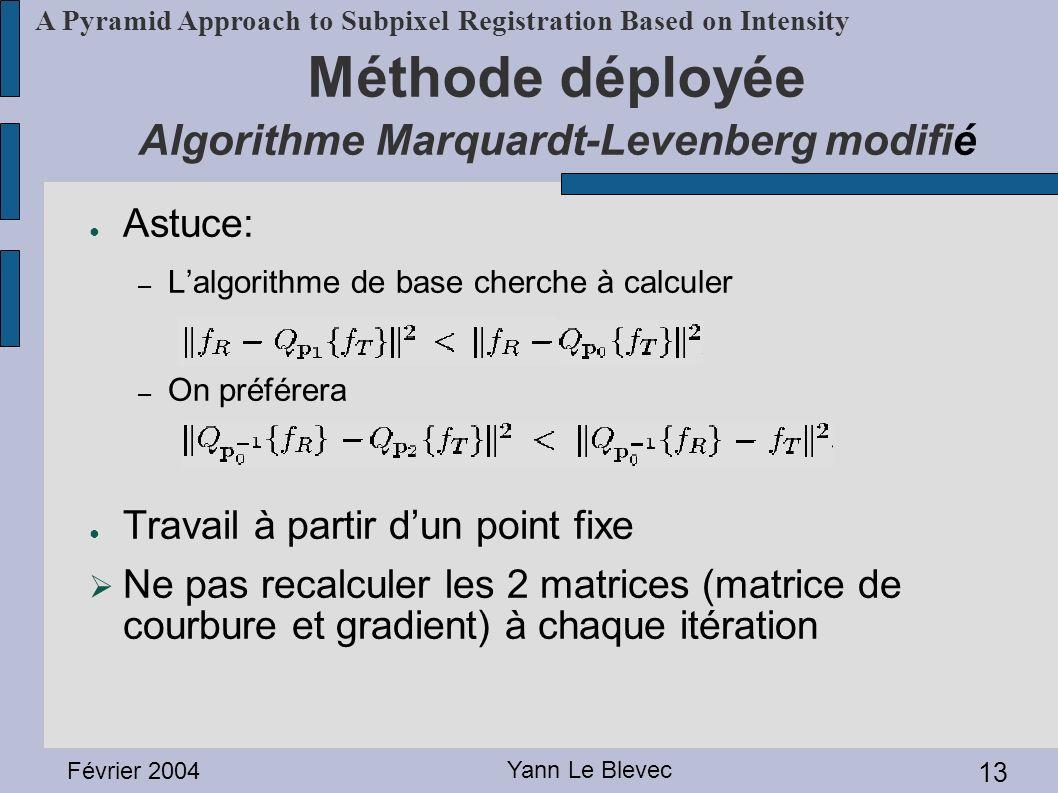 Février 2004 Yann Le Blevec 13 A Pyramid Approach to Subpixel Registration Based on Intensity Méthode déployée Algorithme Marquardt-Levenberg modifié