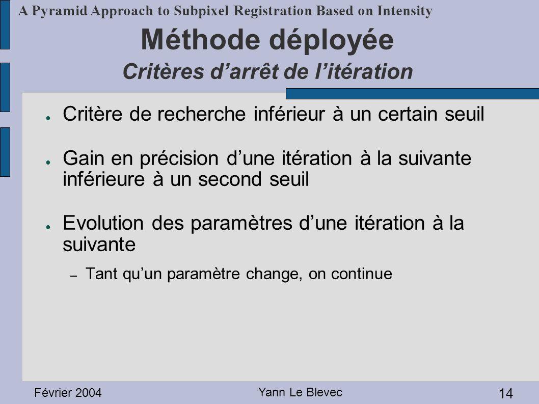 Février 2004 Yann Le Blevec 14 A Pyramid Approach to Subpixel Registration Based on Intensity Méthode déployée Critères darrêt de litération Critère d