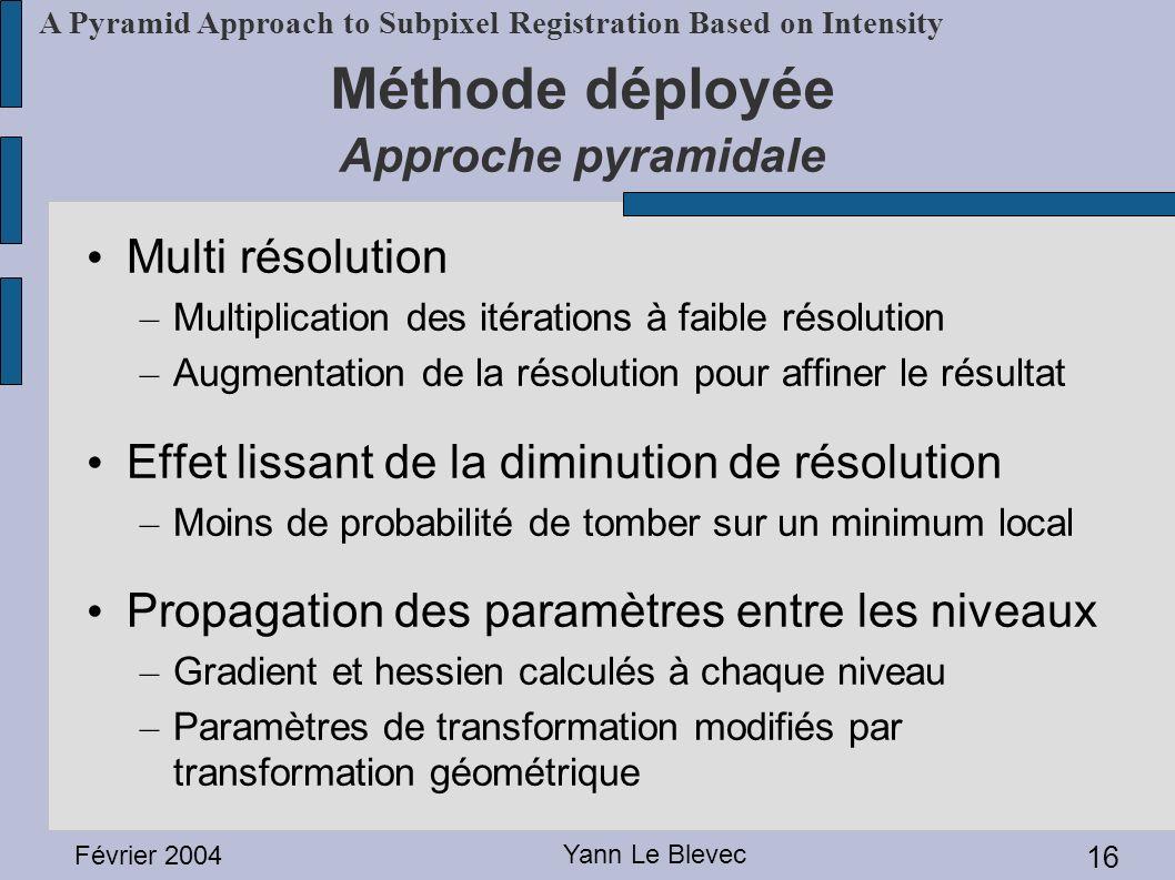 Février 2004 Yann Le Blevec 16 A Pyramid Approach to Subpixel Registration Based on Intensity Méthode déployée Approche pyramidale Multi résolution –