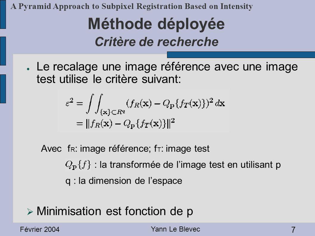 Février 2004 Yann Le Blevec 7 A Pyramid Approach to Subpixel Registration Based on Intensity Méthode déployée Critère de recherche Le recalage une ima