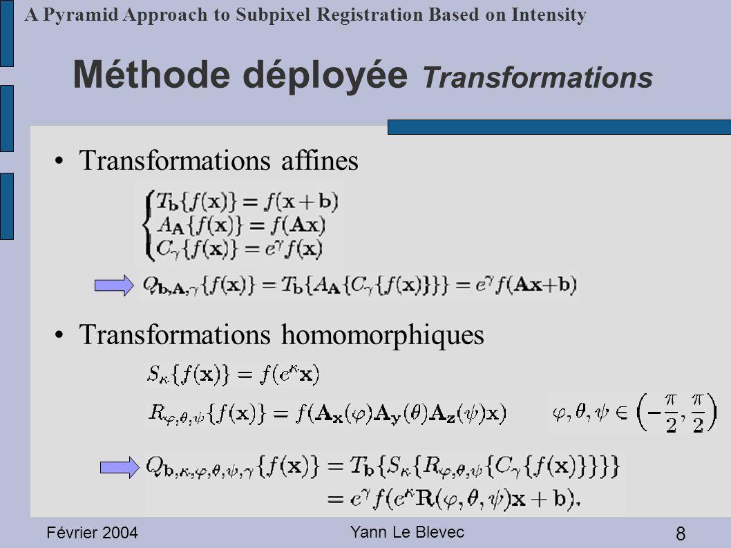 Février 2004 Yann Le Blevec 9 A Pyramid Approach to Subpixel Registration Based on Intensity La fonction à minimiser équivaut à: Se rapprocher du p optimal en modifiant p à chaque itération Ce problème revient à résoudre le système linéaire: α: Matrice de courbure (1/2 * Hessien) ß: -1/2 * gradient du résidu Méthode déployée Algorithme Marquardt-Levenberg (ML)