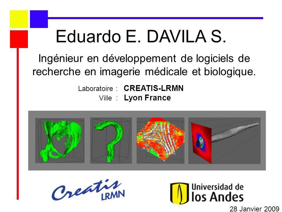 Ingénieur en développement de logiciels de recherche en imagerie médicale et biologique. 28 Janvier 2009 Eduardo E. DAVILA S. Laboratoire : CREATIS-LR