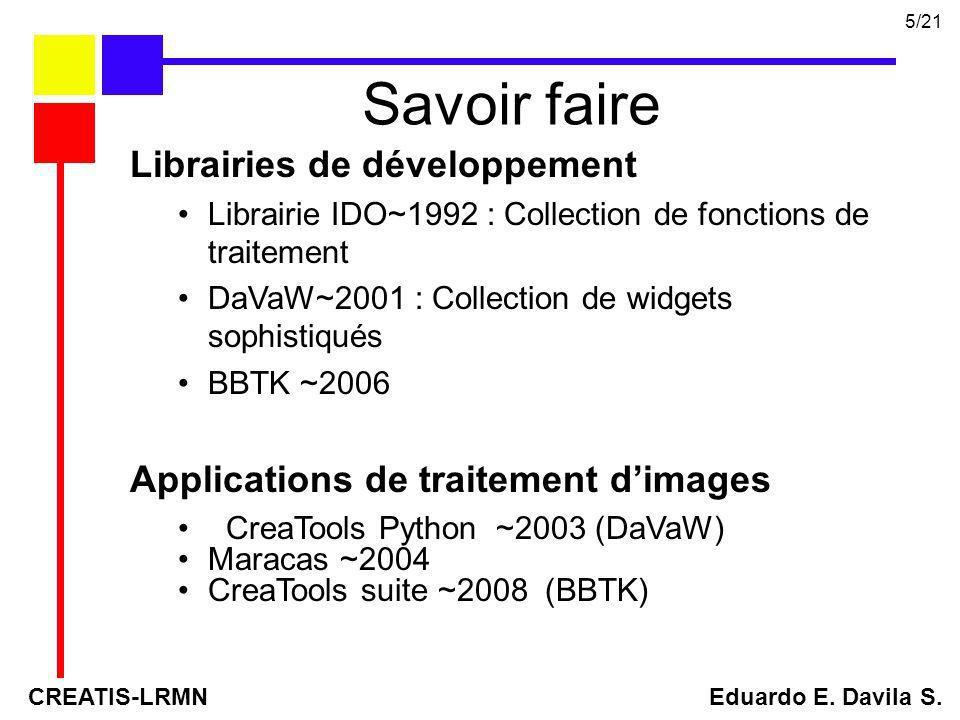 Librairies de développement Librairie IDO~1992 : Collection de fonctions de traitement DaVaW~2001 : Collection de widgets sophistiqués BBTK ~2006 Appl