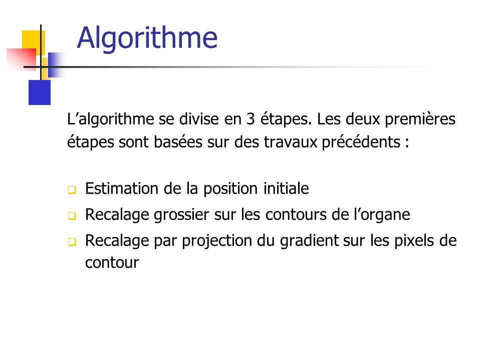 Algorithme Lalgorithme se divise en 3 étapes.