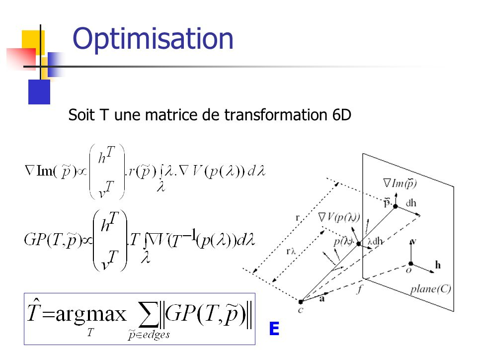 Optimisation Soit T une matrice de transformation 6D E
