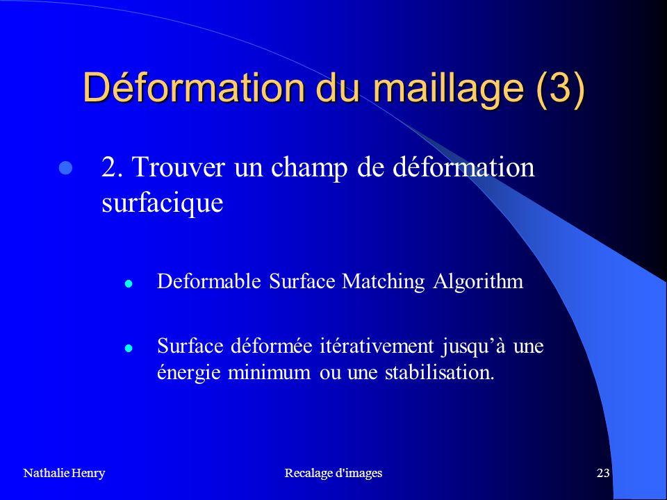 Recalage d'images23 Déformation du maillage (3) 2. Trouver un champ de déformation surfacique Deformable Surface Matching Algorithm Surface déformée i