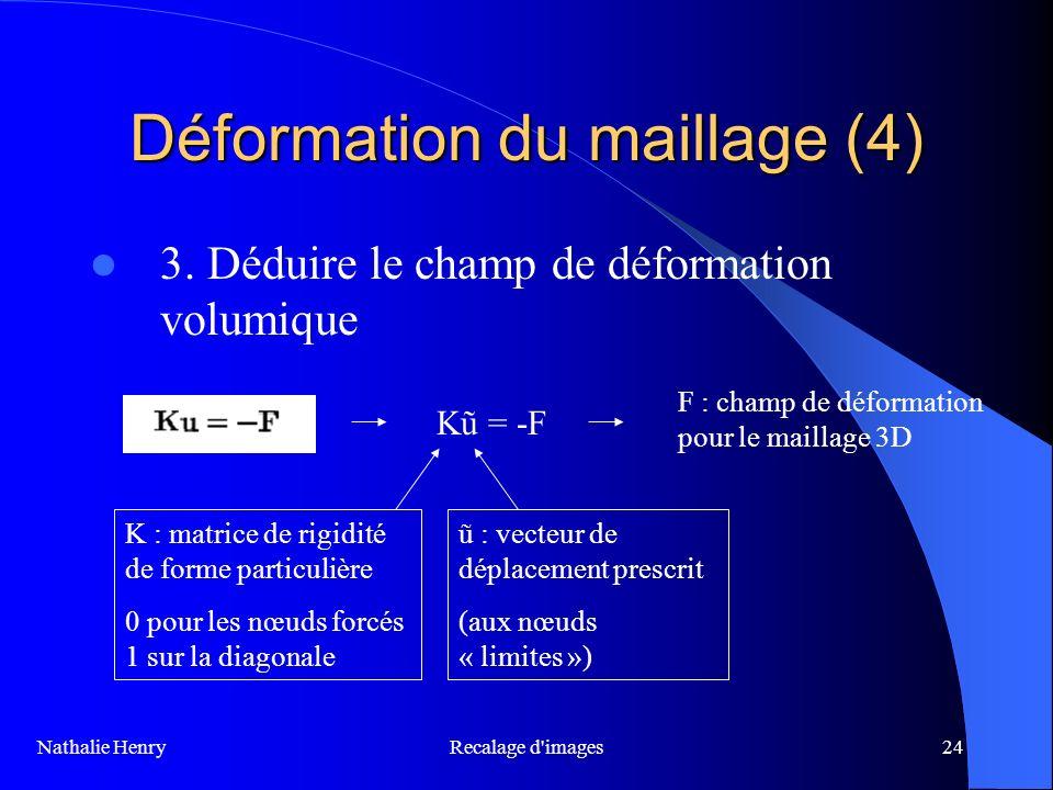 Recalage d'images24 Déformation du maillage (4) 3. Déduire le champ de déformation volumique Kũ = -F ũ : vecteur de déplacement prescrit (aux nœuds «