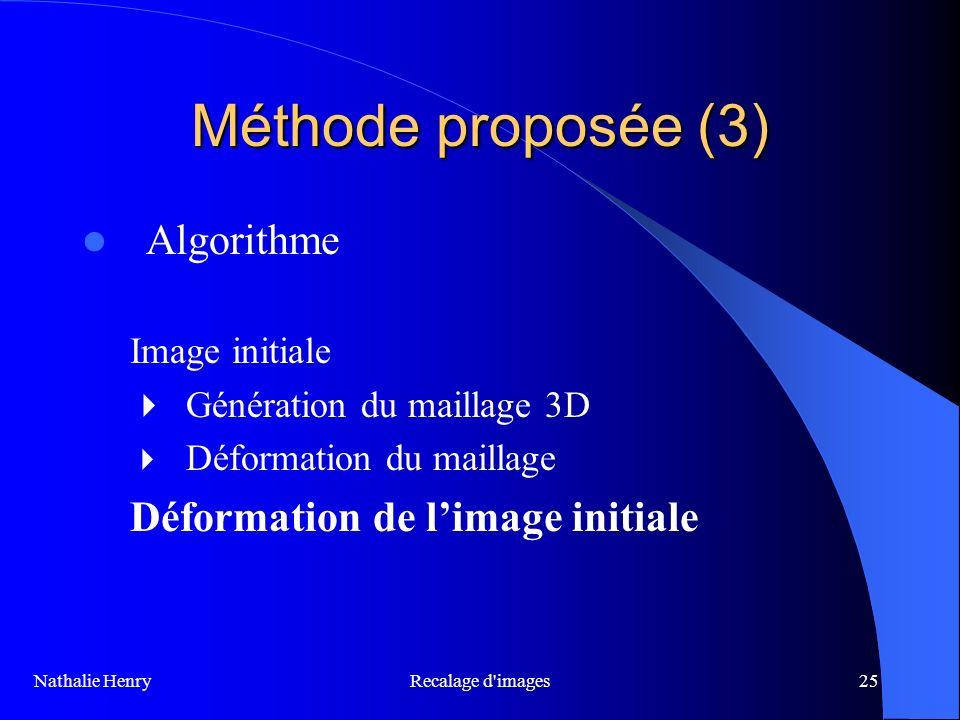 Recalage d'images25 Méthode proposée (3) Algorithme Image initiale Génération du maillage 3D Déformation du maillage Déformation de limage initiale Na