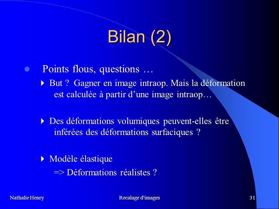 Recalage d'images31 Bilan (2) Points flous, questions … But ? Gagner en image intraop. Mais la déformation est calculée à partir dune image intraop… D