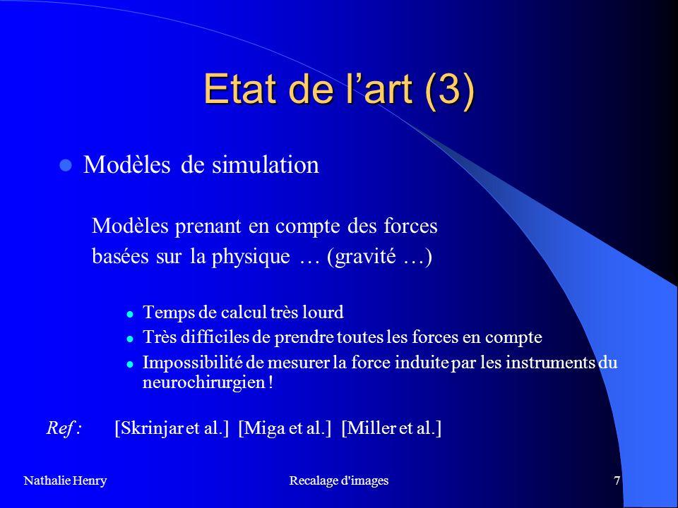 Recalage d'images7 Etat de lart (3) Modèles de simulation Modèles prenant en compte des forces basées sur la physique … (gravité …) Temps de calcul tr