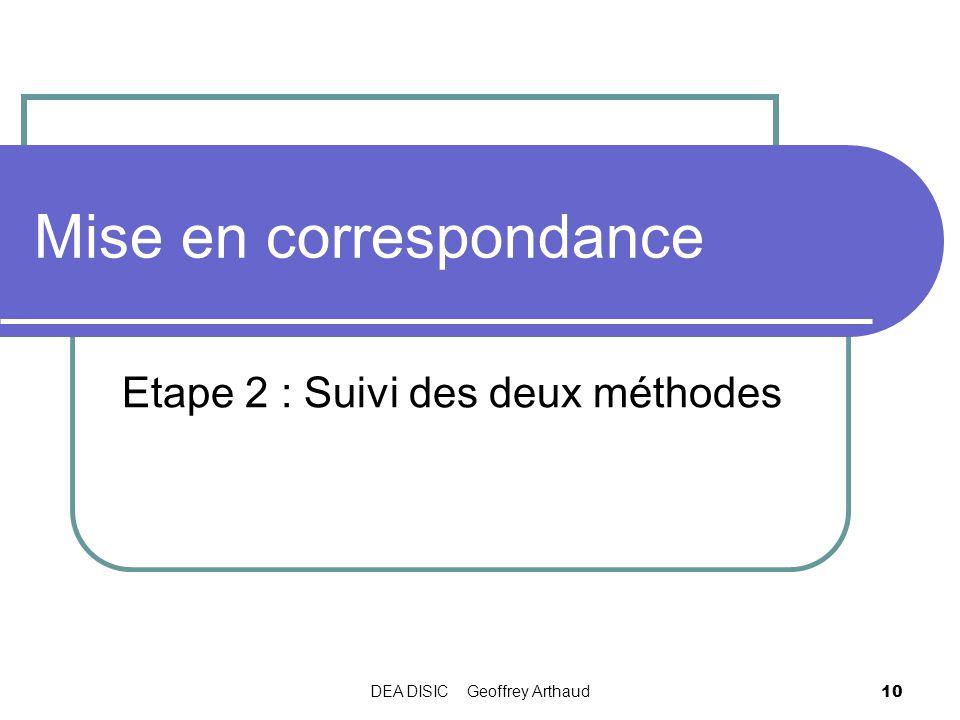 DEA DISIC Geoffrey Arthaud 10 Mise en correspondance Etape 2 : Suivi des deux méthodes
