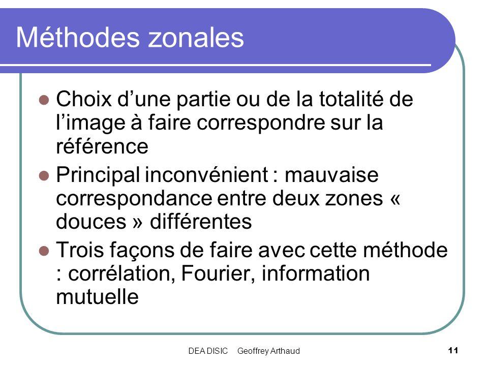 DEA DISIC Geoffrey Arthaud11 Méthodes zonales Choix dune partie ou de la totalité de limage à faire correspondre sur la référence Principal inconvénie