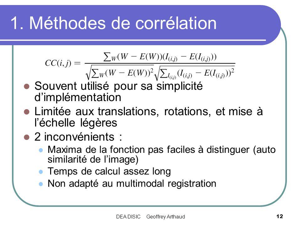 DEA DISIC Geoffrey Arthaud12 1. Méthodes de corrélation Souvent utilisé pour sa simplicité dimplémentation Limitée aux translations, rotations, et mis