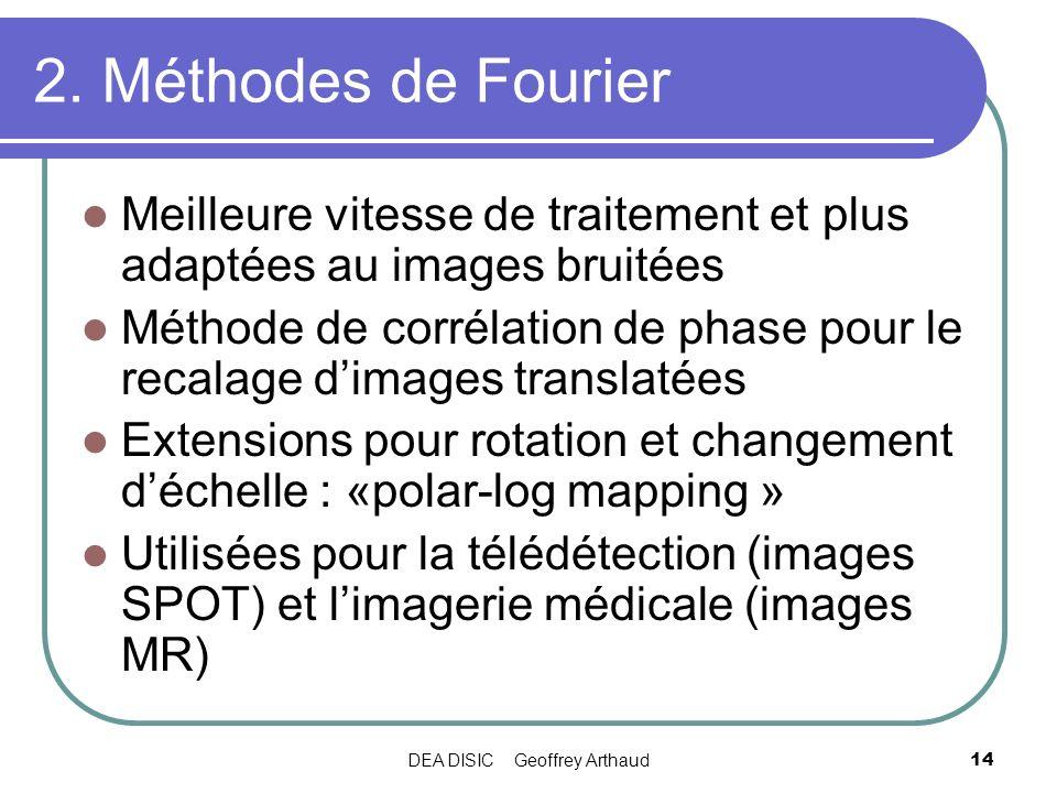 DEA DISIC Geoffrey Arthaud14 2. Méthodes de Fourier Meilleure vitesse de traitement et plus adaptées au images bruitées Méthode de corrélation de phas