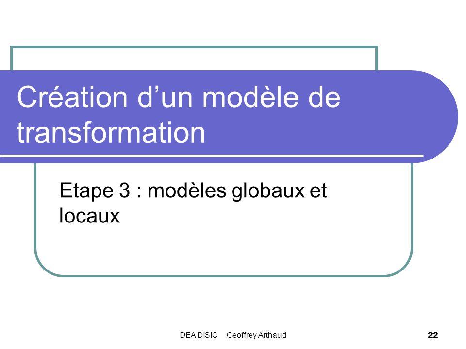 DEA DISIC Geoffrey Arthaud 22 Création dun modèle de transformation Etape 3 : modèles globaux et locaux