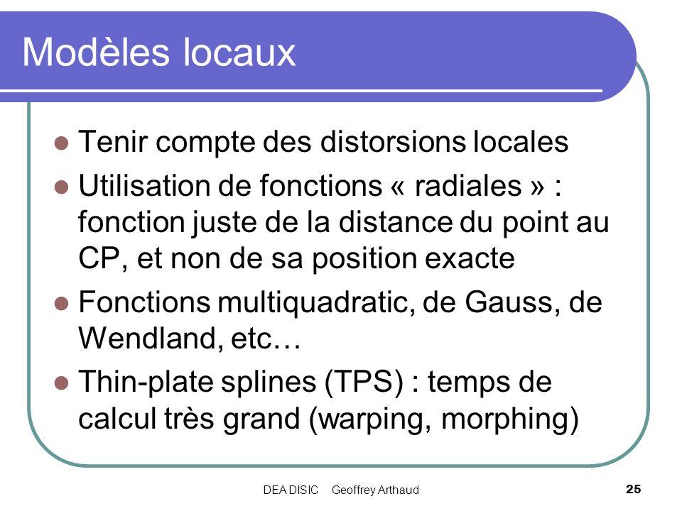 DEA DISIC Geoffrey Arthaud25 Modèles locaux Tenir compte des distorsions locales Utilisation de fonctions « radiales » : fonction juste de la distance