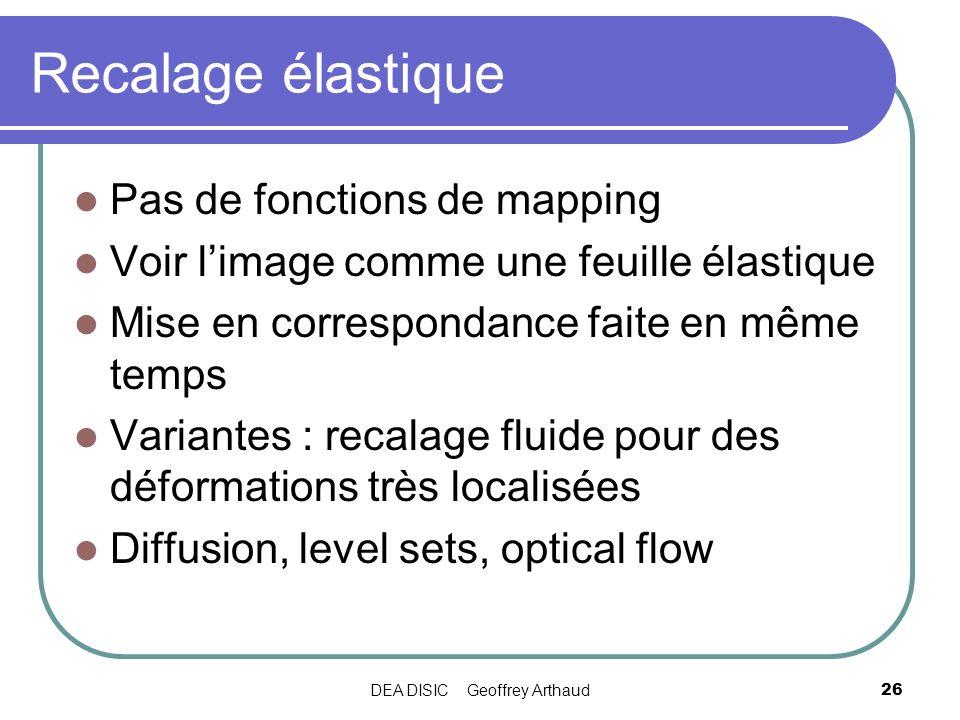 DEA DISIC Geoffrey Arthaud26 Recalage élastique Pas de fonctions de mapping Voir limage comme une feuille élastique Mise en correspondance faite en mê