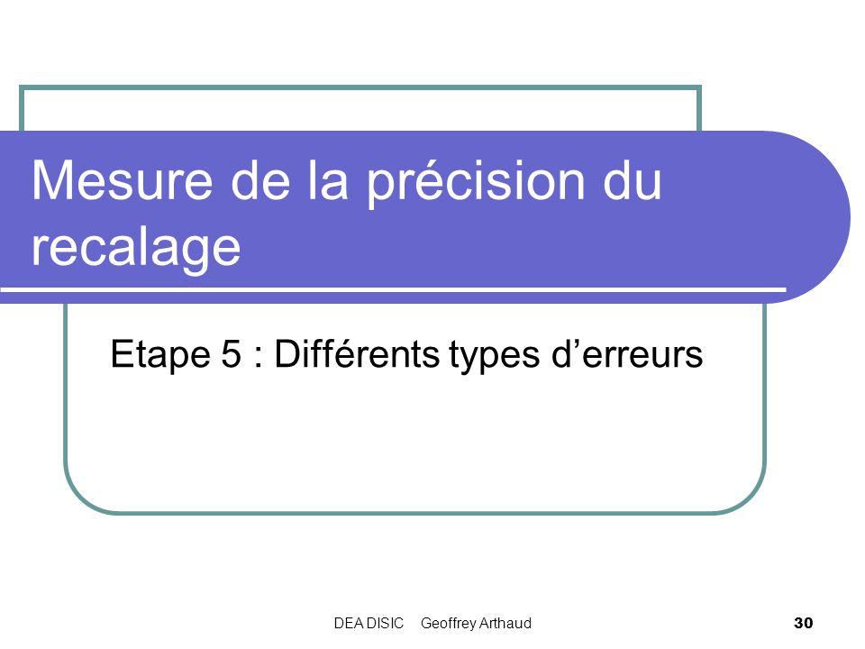 DEA DISIC Geoffrey Arthaud 30 Mesure de la précision du recalage Etape 5 : Différents types derreurs