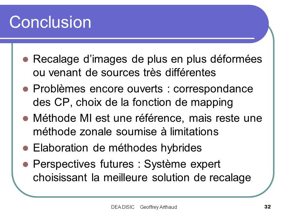DEA DISIC Geoffrey Arthaud32 Conclusion Recalage dimages de plus en plus déformées ou venant de sources très différentes Problèmes encore ouverts : co