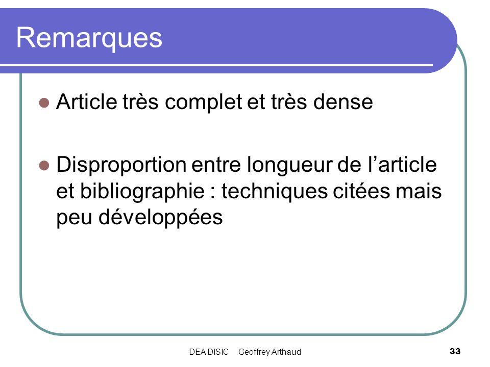 DEA DISIC Geoffrey Arthaud33 Remarques Article très complet et très dense Disproportion entre longueur de larticle et bibliographie : techniques citée