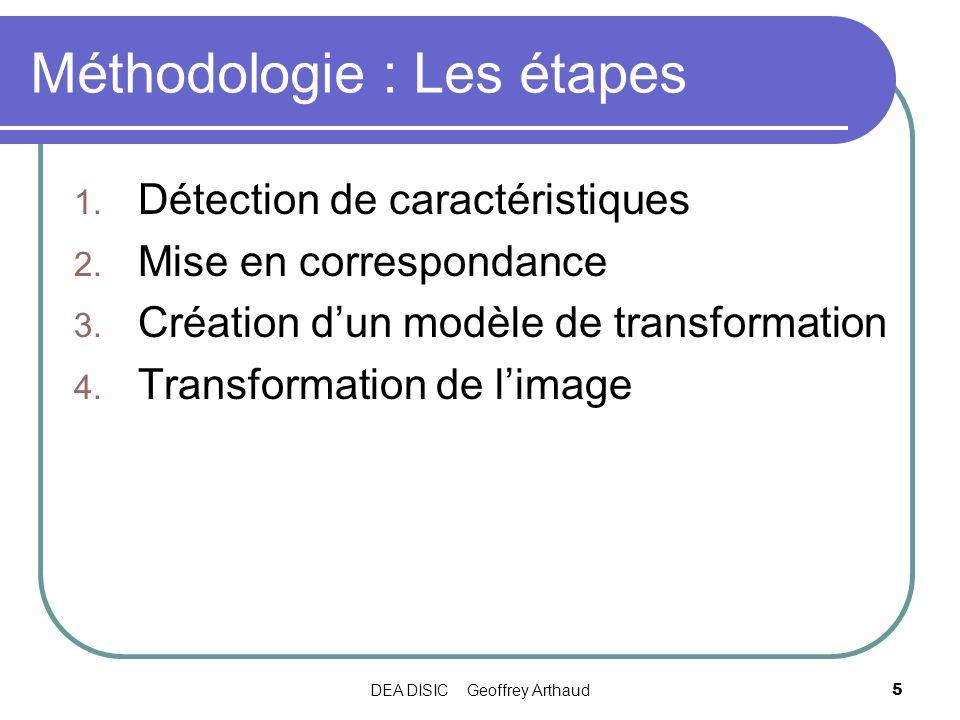 DEA DISIC Geoffrey Arthaud5 Méthodologie : Les étapes 1. Détection de caractéristiques 2. Mise en correspondance 3. Création dun modèle de transformat