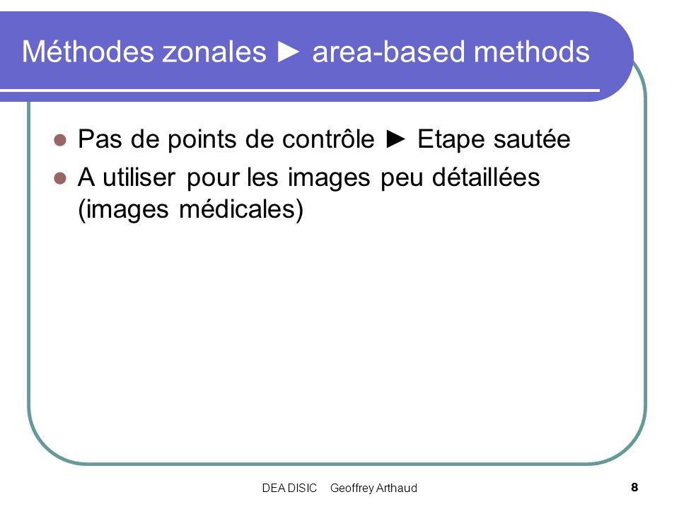 DEA DISIC Geoffrey Arthaud9 Méthodes avec caractéristiques feature-based methods Caractéristiques sous forme de : Régions Lignes Points Caractéristiques stockées par des points de contrôle (CP) Adaptées pour les images contenant des objets facilement détectables
