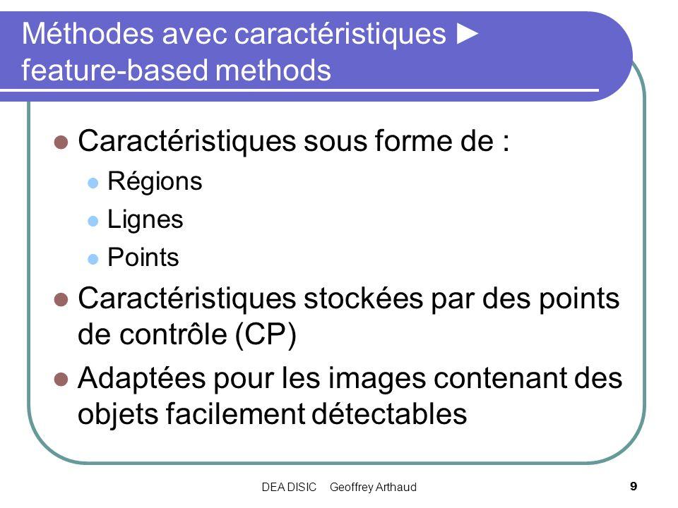 DEA DISIC Geoffrey Arthaud9 Méthodes avec caractéristiques feature-based methods Caractéristiques sous forme de : Régions Lignes Points Caractéristiqu