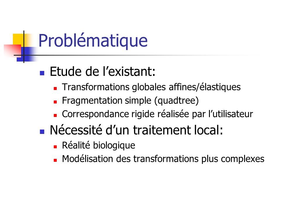 Problématique But: processus automatique de recalage des images biologiques 2D par fragmentation intelligente Établir un champ des correspondances Grouper les blocs dans des clusters Extraire les sous-images à partir des clusters Trouver les transformations affines locales Recalage complet par interpolation
