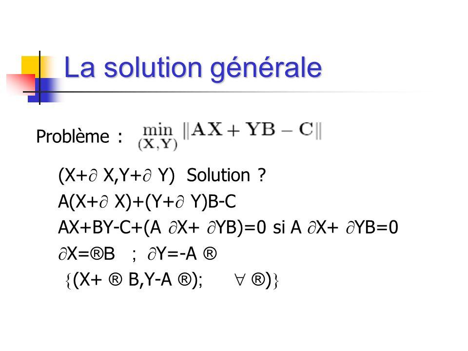 La solution générale (X+ X,Y+ Y) Solution ? A(X+ X)+(Y+ Y)B-C AX+BY-C+(A X+ YB)=0 si A X+ YB=0 X= ®B ; Y=-A ® (X+ ® B,Y-A ® ) ; ® ) Problème :