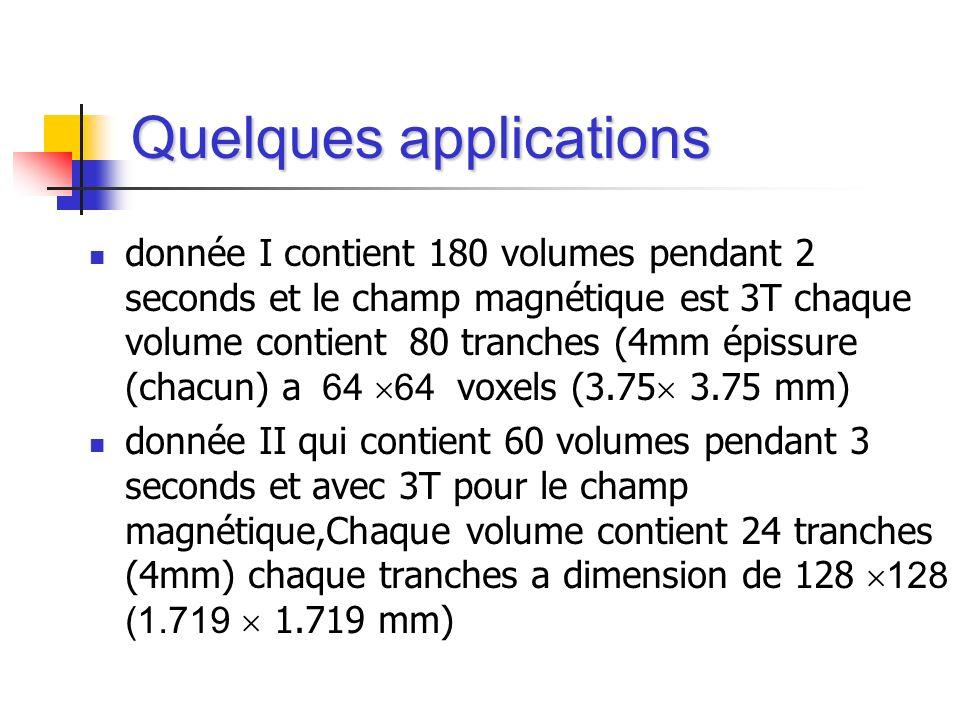 donnée I contient 180 volumes pendant 2 seconds et le champ magnétique est 3T chaque volume contient 80 tranches (4mm épissure (chacun) a 64 64 voxels