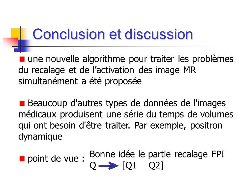 Conclusion et discussion une nouvelle algorithme pour traiter les problèmes du recalage et de lactivation des image MR simultanément a été proposée Be