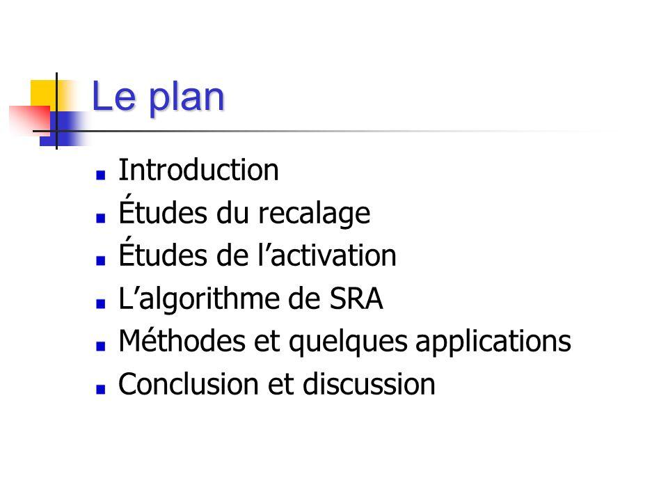 Le plan Introduction Études du recalage Études de lactivation Lalgorithme de SRA Méthodes et quelques applications Conclusion et discussion