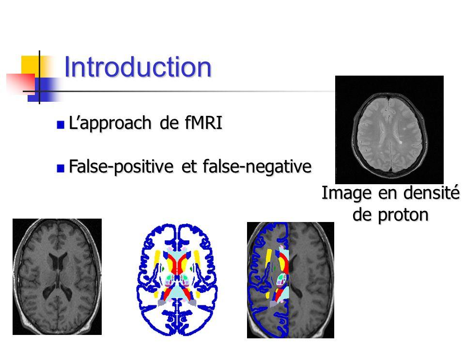 Introduction Lapproach de fMRI False-positive et false-negative Image en densité de proton