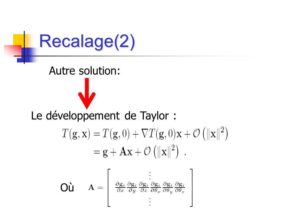 Le développement de Taylor : Où Recalage(2) Autre solution: