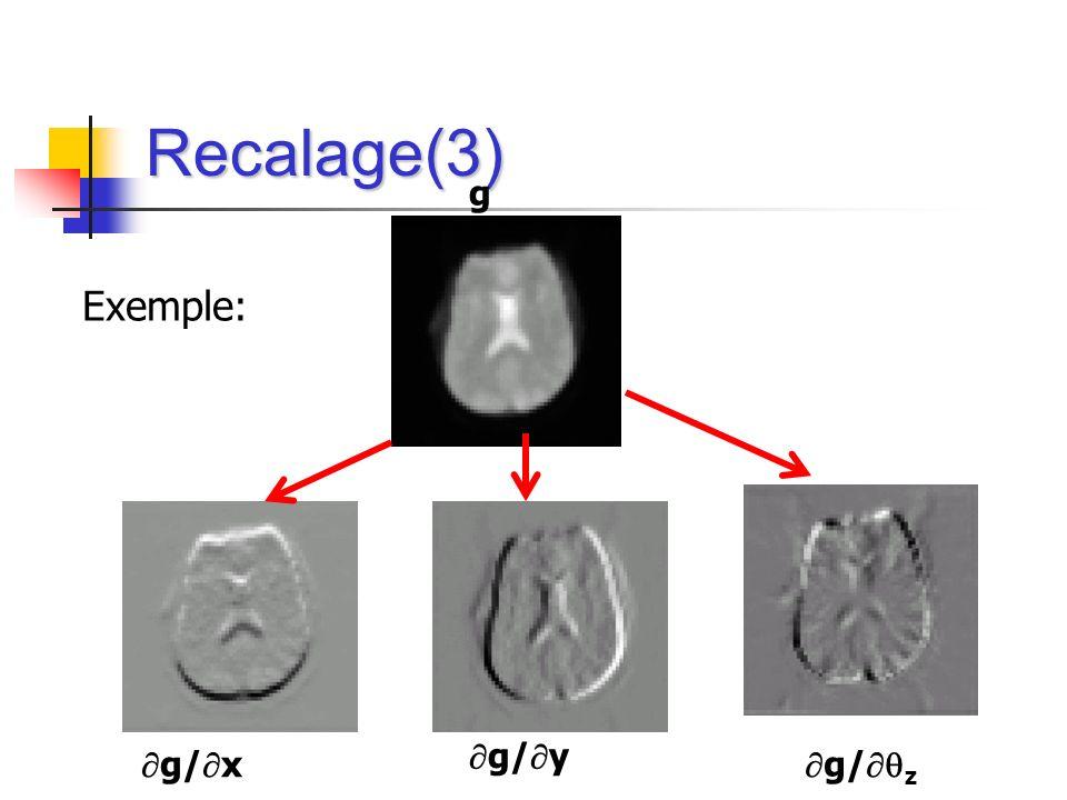 Recalage(3) g/ x g/ z g/ y g Exemple: