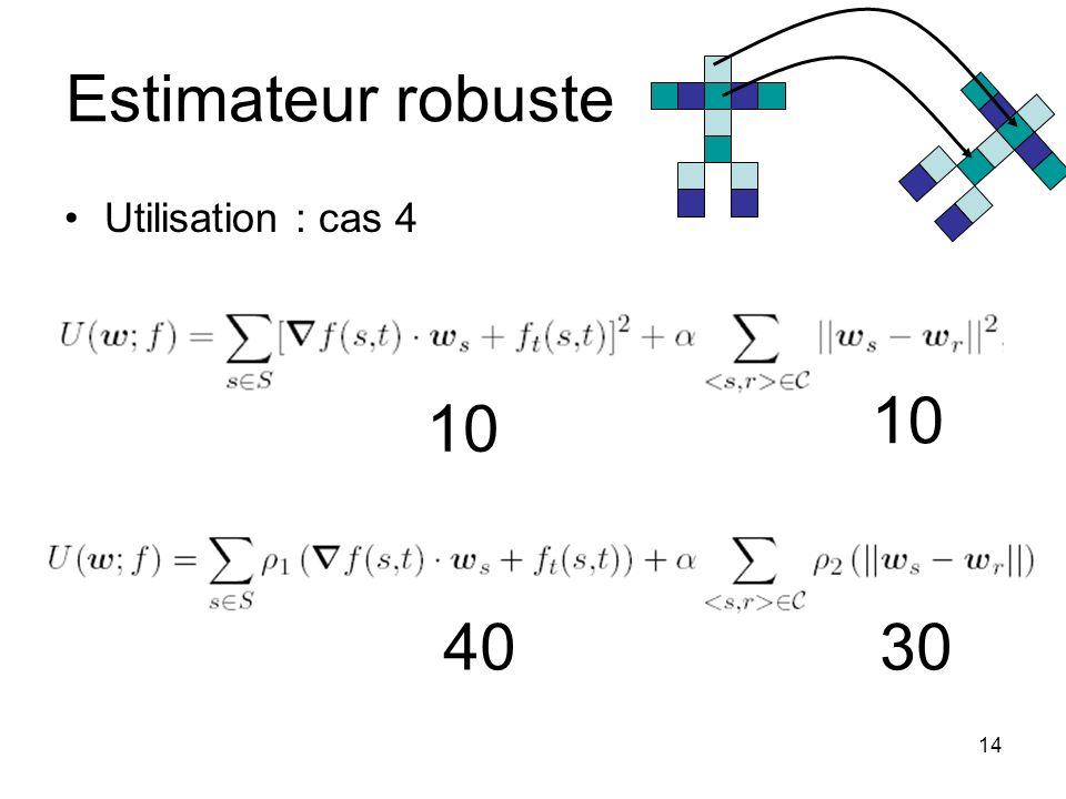 14 Estimateur robuste Utilisation : cas 4 10 4030