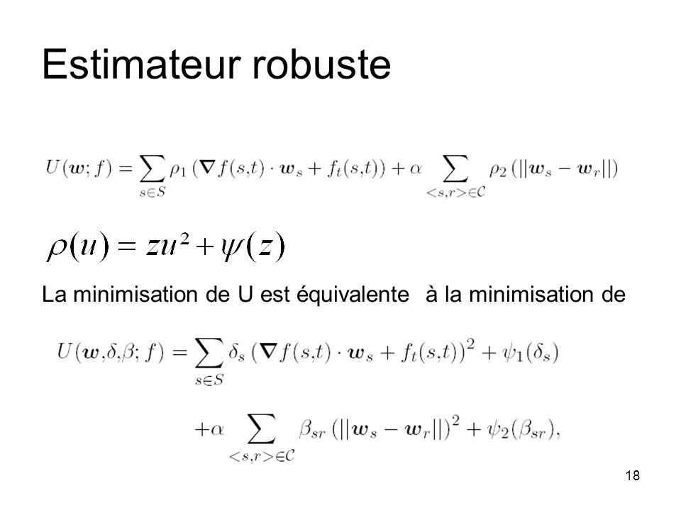 18 Estimateur robuste La minimisation de U est équivalente à la minimisation de
