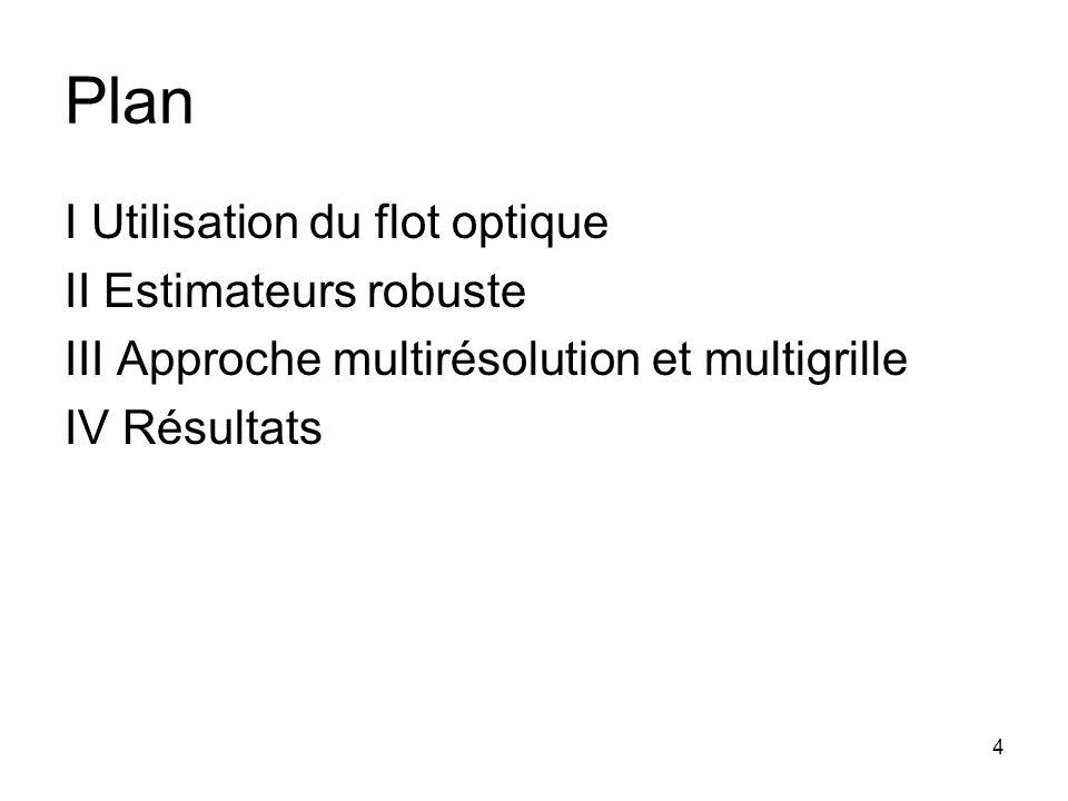4 Plan I Utilisation du flot optique II Estimateurs robuste III Approche multirésolution et multigrille IV Résultats