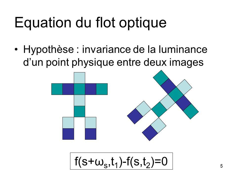 5 Equation du flot optique Hypothèse : invariance de la luminance dun point physique entre deux images f(s+ω s,t 1 )-f(s,t 2 )=0